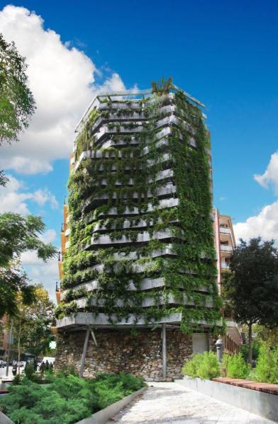 vertical garden in barcelona Green Side-Wall in Barcelona, Spain by Capella Garcia