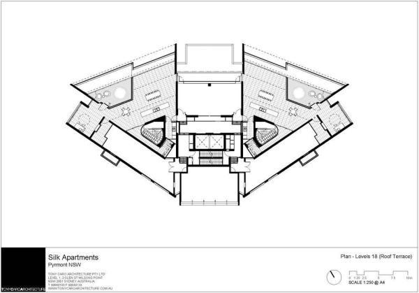 Silk apartments in pyrmont australia by tony caro for Apartment floor plans australia