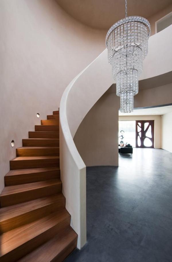 Spiral staircase and view to the garden., Image Courtesy ©  Christiaan de Bruijne