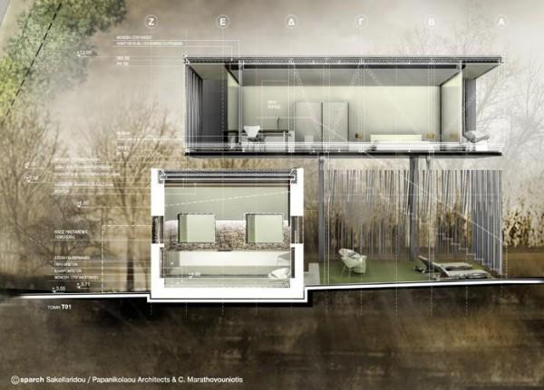 Section of the Container, Image Courtesy © sparch Sakellaridou/ Papanikolaou Architects & Ch. Marathovouniotis