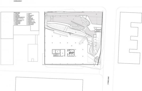 Plan level 04 - Atrium, Cross-Void, Cafe, Roof Terrace Ticketing, Galleries, Image Courtesy © PLUS-SUM Studio