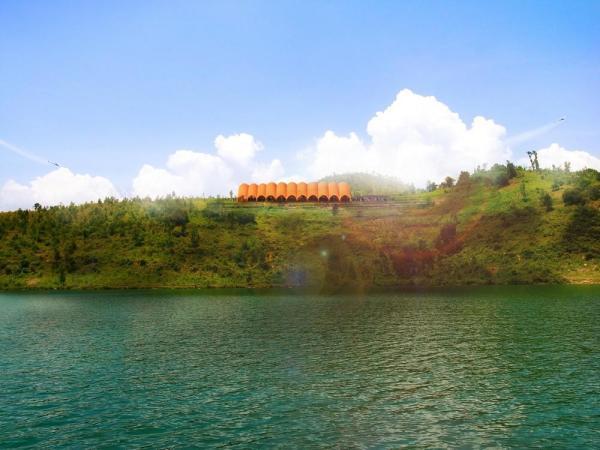 Kivu Droneport on the peninsula, Image Courtesy © Foster + Partners
