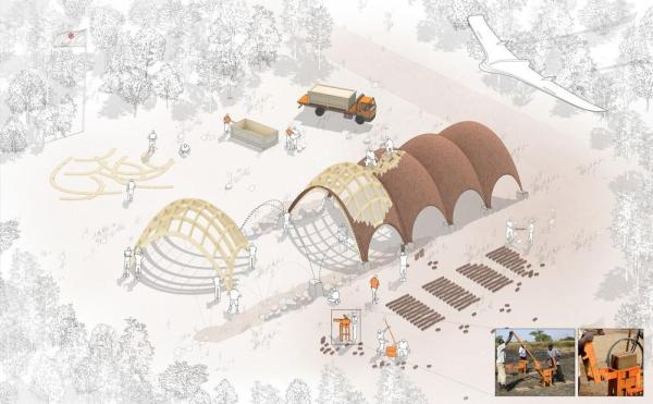 Droneport construction sequence, Image Courtesy © Foster + Partners