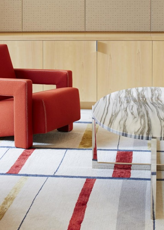 Rietveld designed chair and custom Tibetan rug, Image Courtesy © Paul Riddle