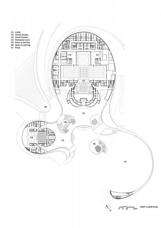 Harbin Opera House floor plan, 1st floor, Image Courtesy © MAD Architects