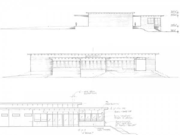 Early exterior elevation hand-sketches describing a balanced composition of varied-height, layered horizontal roof planes.  The building was raised on an earthen berm to mitigate flood risk from the nearby Napa River. Exterior materials include cedar soffits, concrete board-form tilt-up walls, gunmetal blue panels above windows, and anodized aluminum window frames,  Image Courtesy © MH Architects