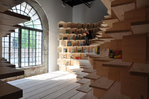 The curated library [Home at Arsenale] will offer the exhibition visitors the opportunity to study the books during the Biennale Architettura 2016. Ultimately this library-home will relocate to the Museum of Architecture and Design in Ljubljana, to be continually available for public use, Image Courtesy © Dekleva Gregorič architects