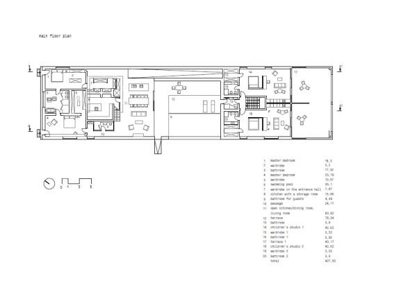 main floor plan, Image Courtesy © DROZDOV & PARTNERS Ltd.