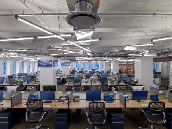 dense open work, exposed ceiling for industrial aesthetic, non-traditional workplace lighting, Image Courtesy © Eric Laignel
