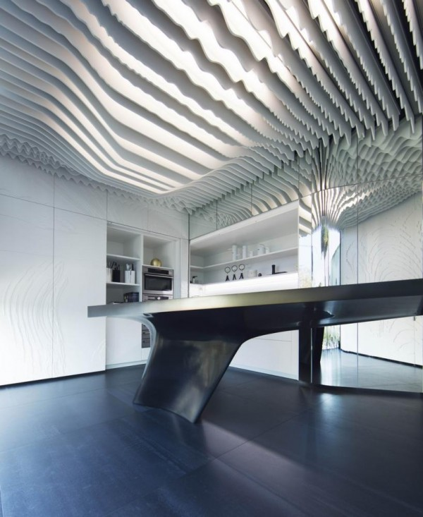 The louvers hide all the technology that is inside the ceiling, Image Courtesy © Alfonso Calza