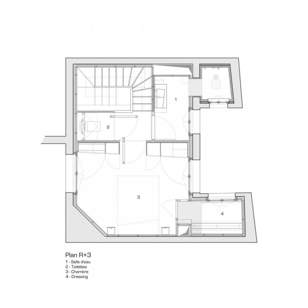 Third floor plan, Image Courtesy © L'atelier miel and Mickaël Martins Afonso, Designer