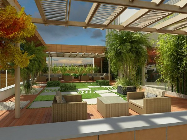 Aeccafe konterra in gurgaon india by swbi architects pvt for Terrace garden in india