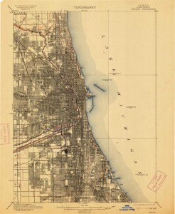 Topography map of Chicago