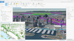 Esri's new ArcGIS Pro that comes standard with ArcGIS 10.3 allows users to view and create 2D and 3D maps and designs simultaneously. Data courtesy of City of San Diego.