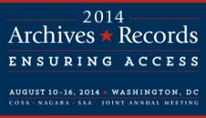 Logo for SAA 2014: Archives*Records: Ensuring Access (August 10-16, 2014, Washington, D.C.)
