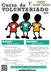 Cartel con horarios de los Cursos de Voluntariado en 2015