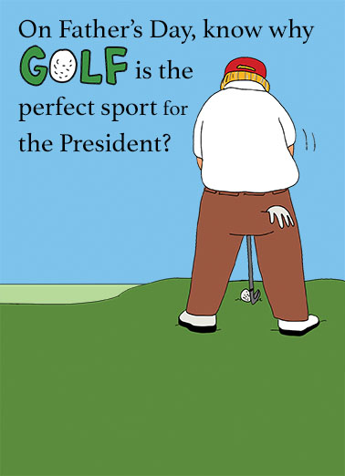 Funny Fathers Day Card President Fathers Day Golf