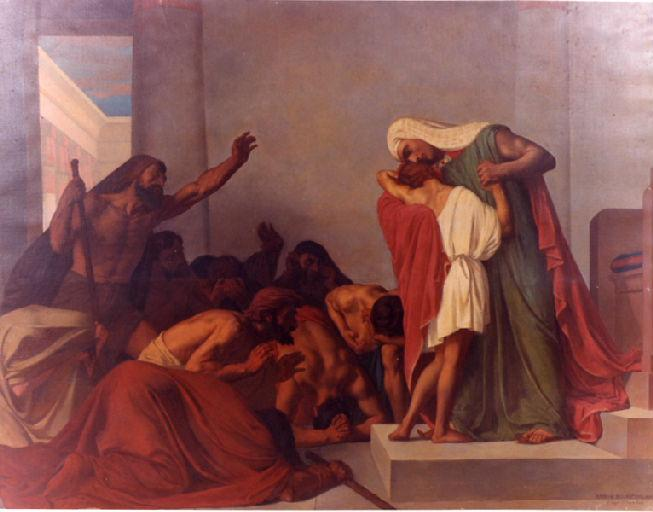 """Joseph Recognized by His Brothers,""  Léon Pierre Urbain Bourgeois, 1863 oil on canvas, at the Musée Municipal Frédéric Blandin, Nevers (public domain)"