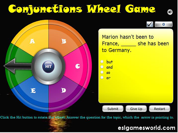 Conjunctions Wheel Of Fortune Game
