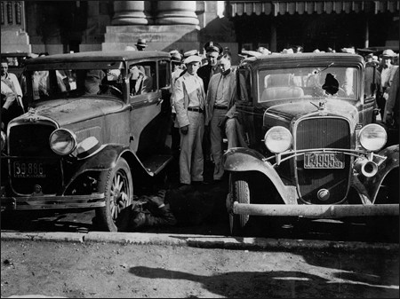Scene in front of the Kansas City railroad depot moments after the attack