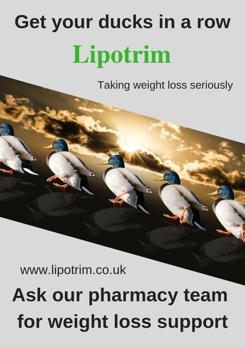 UK Lipotrim pharmacy posters - Get your ducks in a row - non winter version