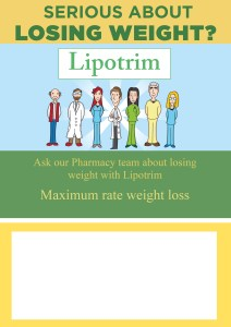 Lipotrim off-site poster - customisable with pharmacy details