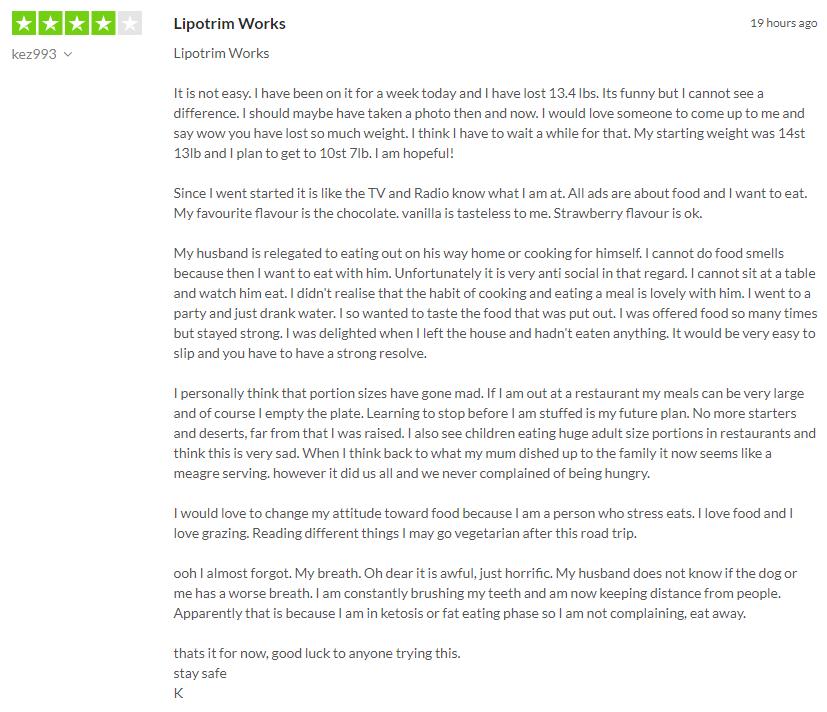 Kez993 Trustpilot Lipotrim UK review
