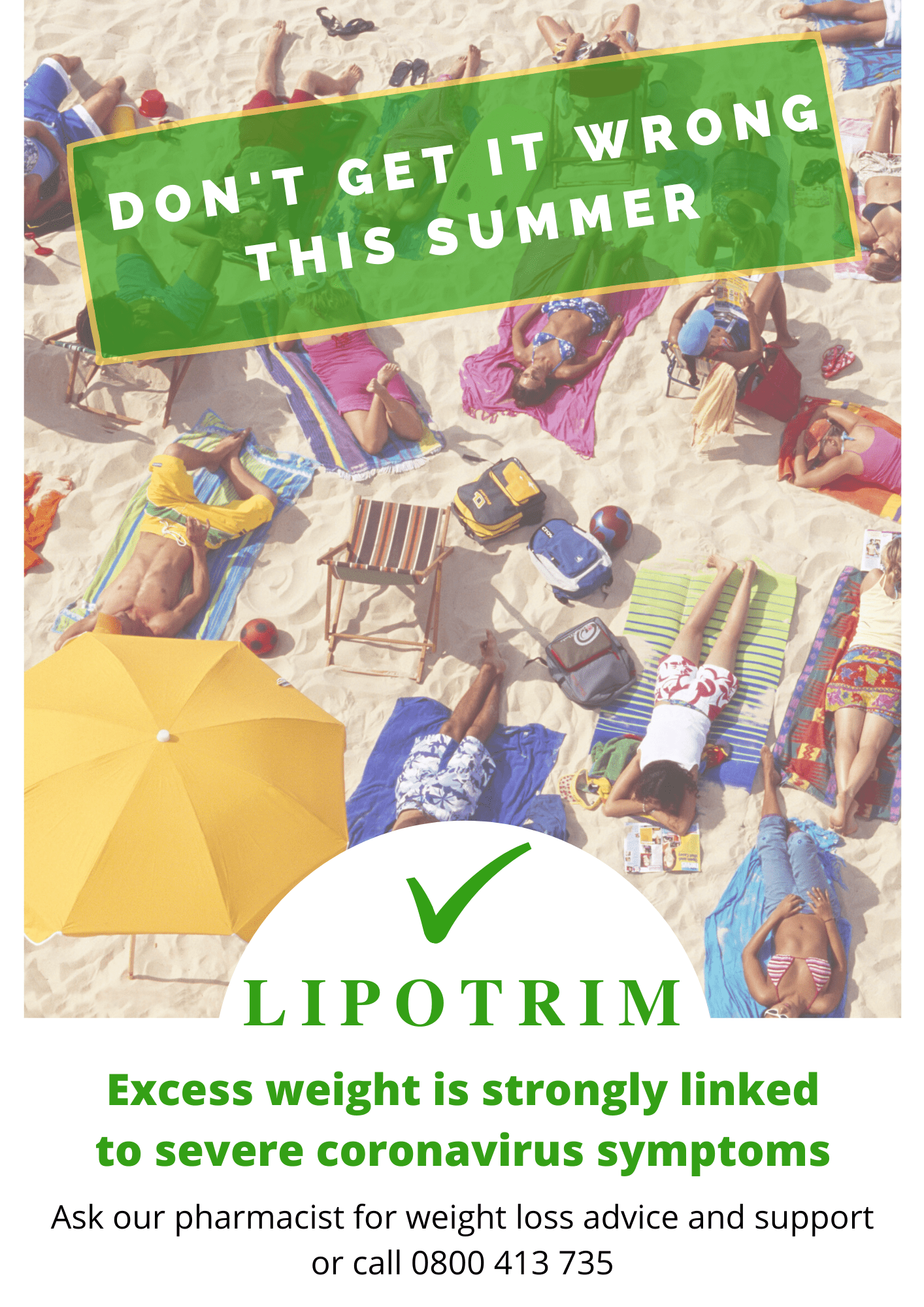 Lipotrim UK pharmacy poster - Summer covid19