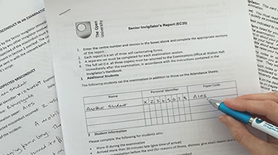 Exam invigilation   Invigilation   Open University invigilation forms being filled in