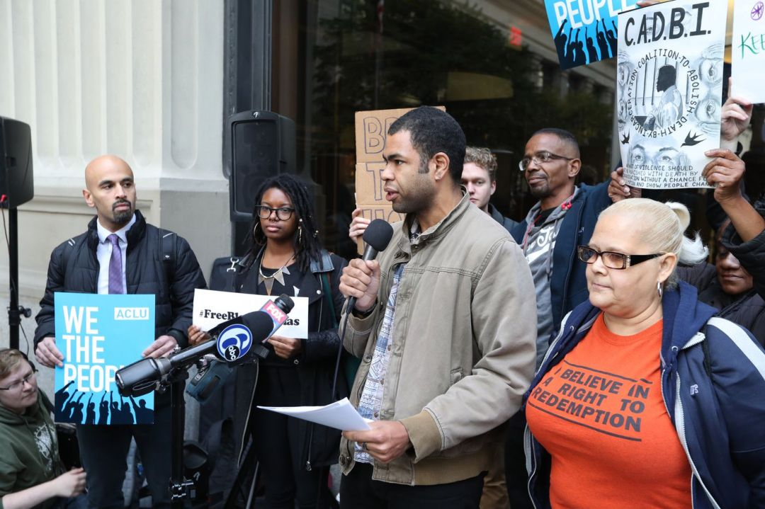 Rick Krajewski of the Coalition for a Just DA speaks at a demonstration outside District Attorney's on issues of criminal justice reform Thursday November 9, 2017.
