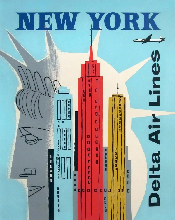 delta air lines vintage poster for new york