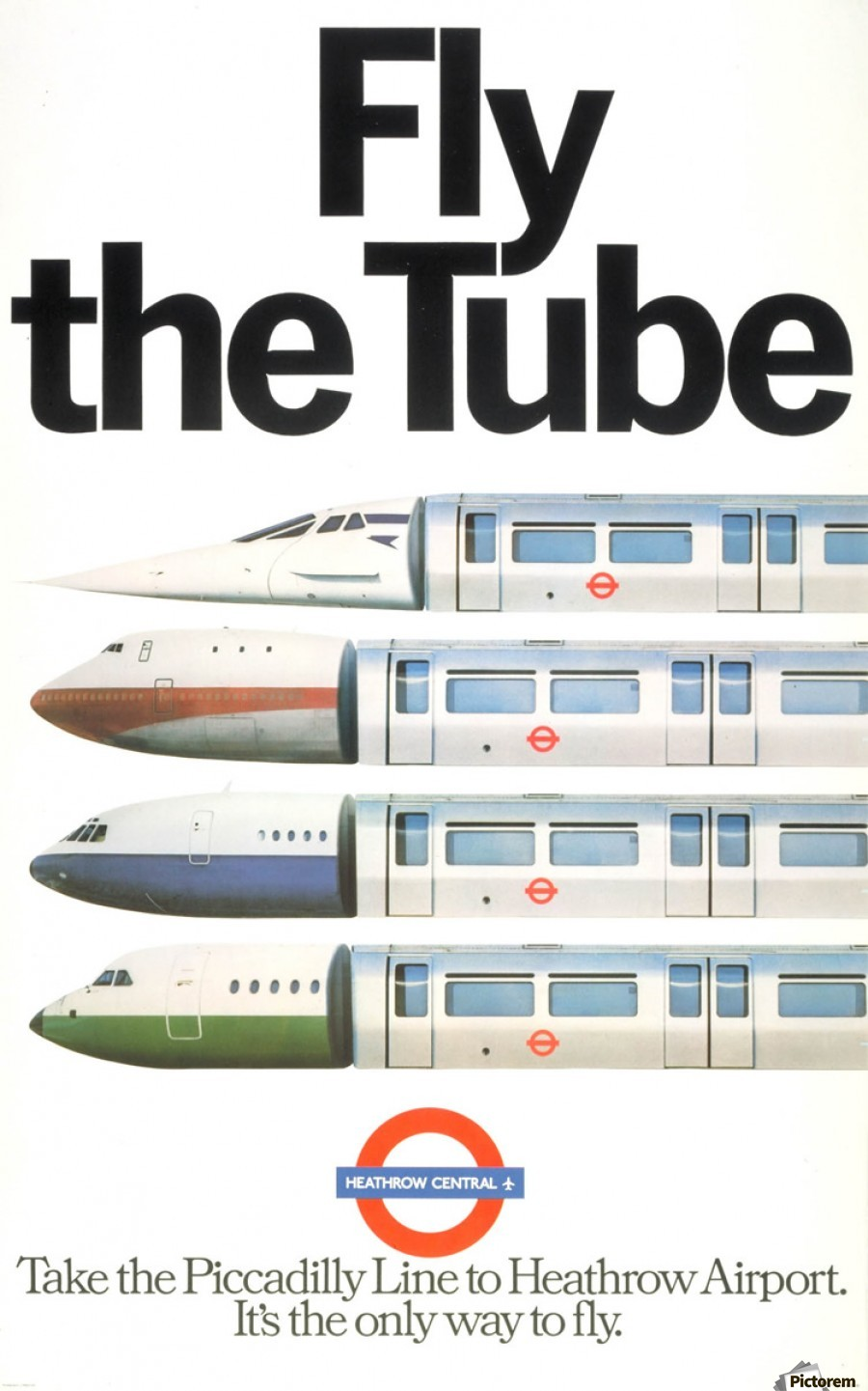 fly the tube vintage poster for heaththrow airport vintage poster print