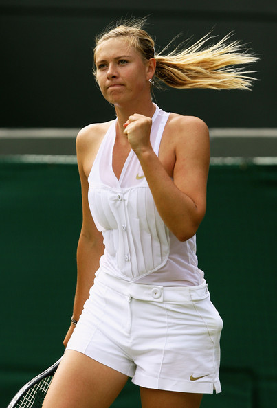 Maria Sharapova Maria Sharapova of Russian Federation celebrates a point during the women's singles round one match against Stephanie Foretz of France on day two of the Wimbledon Lawn Tennis Championships at the All England Lawn Tennis and Croquet Club on June 24, 2008 in London, England.