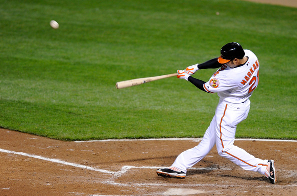 Nick Markakis #21 of the Baltimore Orioles hits a home run in the fourth inning against the New York Yankees at Camden Yards April 8, 2009 in Baltimore, Maryland.  (Photo by Greg Fiume/Getty Images) *** Local Caption *** Nick Markakis