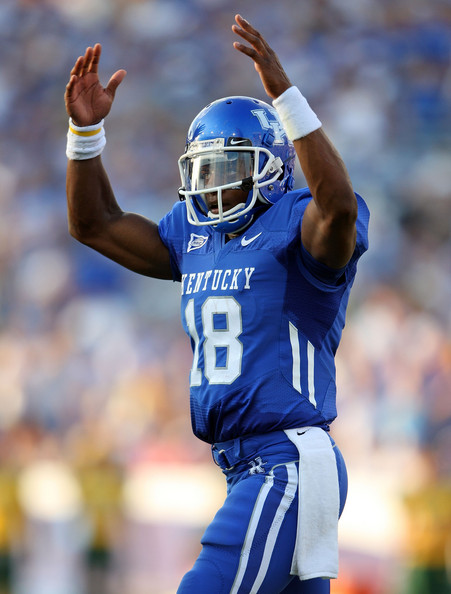 Randall Cobb Randall Cobb #18 of the Kentucky Widcats celebrates after running for a touchdown during the game against the Norfolk State Spartans at Commonwealth Stadium on September 6, 2008 in Lexington, Kentucky
