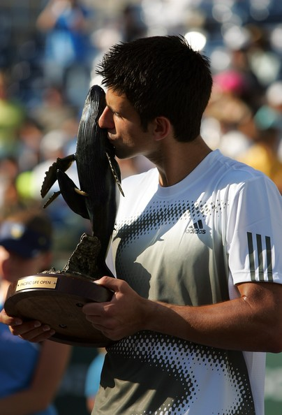Novak Djokovic of Serbia kisses the Pacific Life Open trophy after winning the men's final match by defeating Mardy Fish at the Pacific Life Open at the Indian Wells Tennis Garden March 23, 2008 in Indian Wells, California. Djokovic won the match 6-2, 5-7, 6-3.