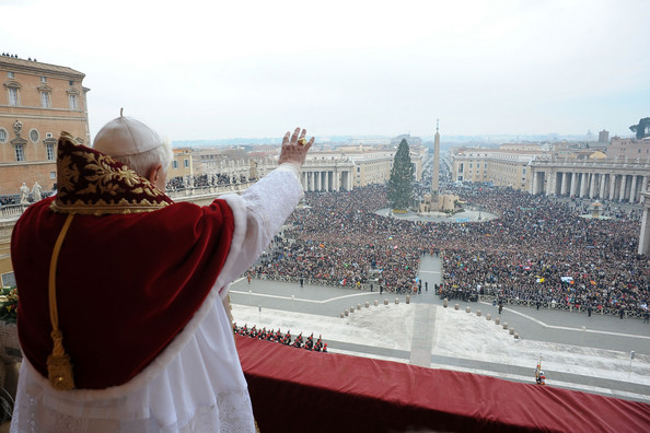 Pope Benedict XVI Pope Benedict XVI delivers his Christmas Urbi Et Orbi blessing from the central balcony of St Peter's Basilica on December 25, 2008 in the Vatican City.  (Photo by L'Osservatore Romano - Vatican Pool via Getty Images) *** Local Caption *** Pope Benedict XVI
