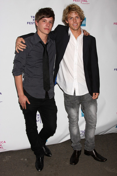 Actors Xavier Samuel and Lachlan Buchanan attend the premiere of 'Newcastle' during the 2008 Tribeca Film Festival on April 25, 2008 in New York City.