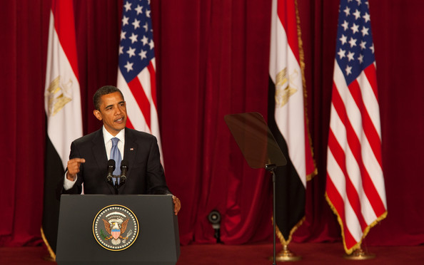"U.S. President Barack Obama makes his key Middle East speech at  Cairo University June 4, 2009 in Cairo, Egypt. In his speech, President Obama called for a ""new beginning between the United States and Muslims"", declaring that ""this cycle of suspicion and discord must end"".  (Photo by Getty Images) *** Local Caption *** Barack Obama"