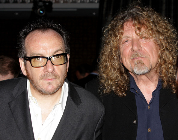 Musicians Elvis Costello (L) and Robert Plant attend World Hunger Year's event honoring Elvis Costello and John Edwards on June 9, 2008 at the Lighthouse at Chelsea Piers in New York.