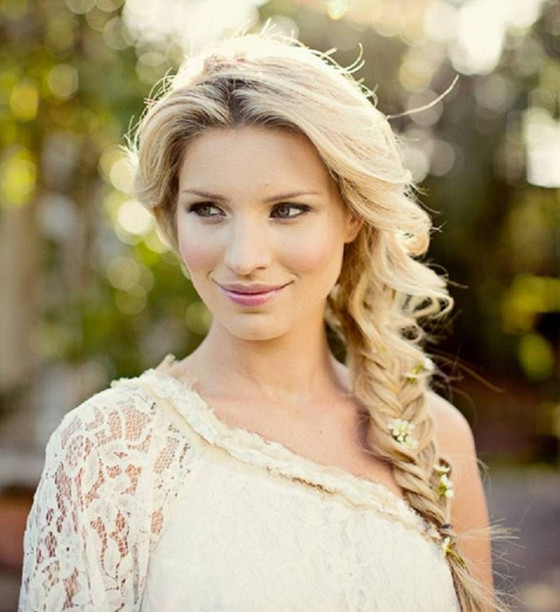 Flower Laced Fishtail Braid Wedding Hair Inspiration For