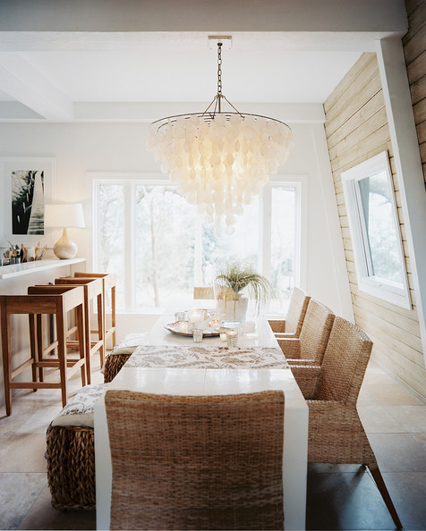 Statement Lighting Beach Bohemian Dining Area Room with Shell Chandelier