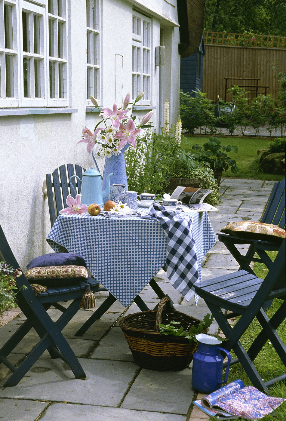 Blue Country Patio - Outdoor Patio Design Ideas - Lonny on Country Patio Ideas id=23440