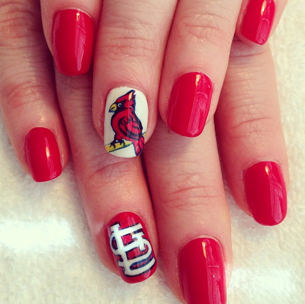 The St Louis Cardinals Happy Opening Day Here Are 10 Cute Baseball Nail Art Ideas