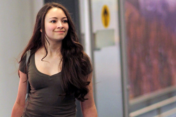 """""""The Twilight Saga: Eclipse"""" star Jodelle Ferland returns home to Vancouver, after a little trip with her mom Valerie to Hollywood. Upon arrival she stops to sign autographs for some fans. EXCLUSIVE November 10, 2010"""