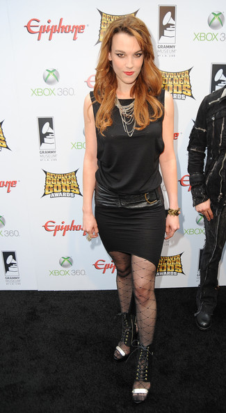 Lzzy Hale of Halestorm arrives at the 2012 Revolver Golden Gods Award Show at Club Nokia on April 11, 2012 in Los Angeles, California.