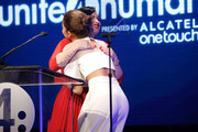 Actress Demi Lovato (L) presents the Young Luminary Award to actress/singer Zendaya onstage at the 2nd Annual unite4:humanity presented by ALCATEL ONETOUCH at the Beverly Hilton Hotel on February 19, 2015 in Los Angeles, California.