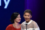 Actress Demi Lovato (L) presents the Young Luminary Award to honoree Zendaya onstage at the 2nd Annual unite4:humanity presented by ALCATEL ONETOUCH at the Beverly Hilton Hotel on February 19, 2015 in Los Angeles, California.