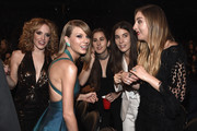 (L-R) Abigail Anderson and recording artists Taylor Swift, Alana Haim, Danielle Haim and Este Haim of Haim attend The 57th Annual GRAMMY Awards at the STAPLES Center on February 8, 2015 in Los Angeles, California.