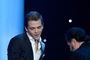 Recording artists Hunter Hayes (L) and Jo-El Sonnier appear onstage during the The 57th Annual GRAMMY Awards Premiere Ceremony at Nokia Theatre L.A. Live on February 8, 2015 in Los Angeles, California.